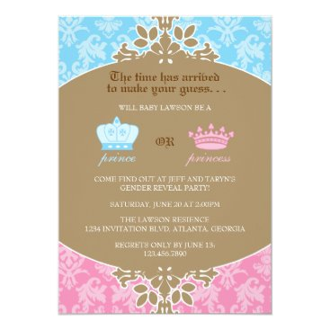 Prince or Princess Damask Gender Reveal Party Invitation