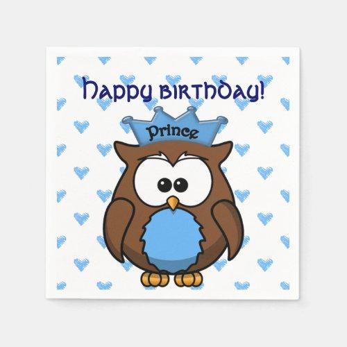 prince owl paper napkin