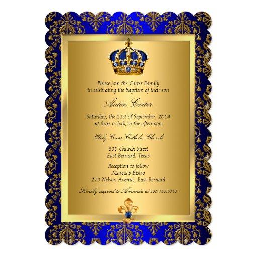 Prince Royal Blue Regal Crown Baptism Invite Zazzle