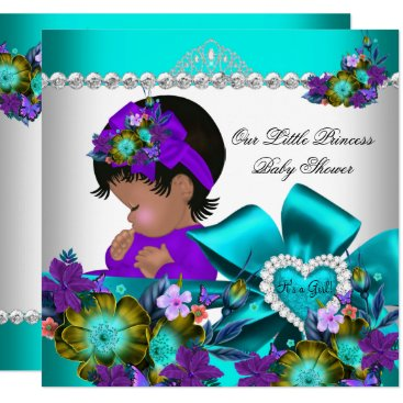 Princess Baby Shower Girl Teal Blue Purple 3 Invitation