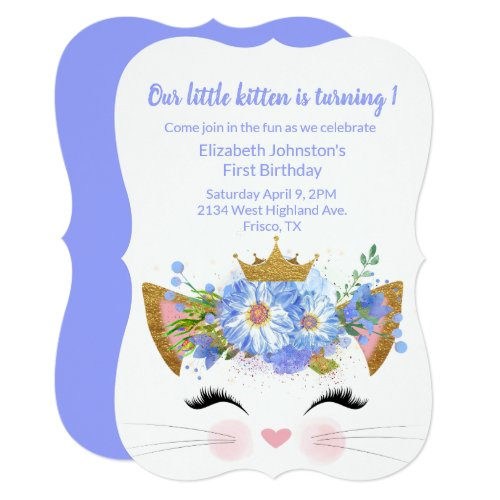 Princess Kitty Babys First Birthday Invitation