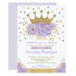 Princess Lavender Gold Floral Crown Baby Shower Invitation