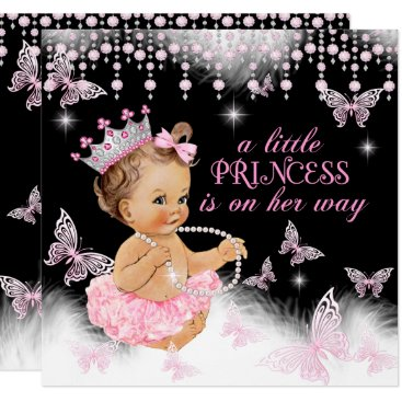 Princess Pink Butterfly Girl Baby Shower Cute Card