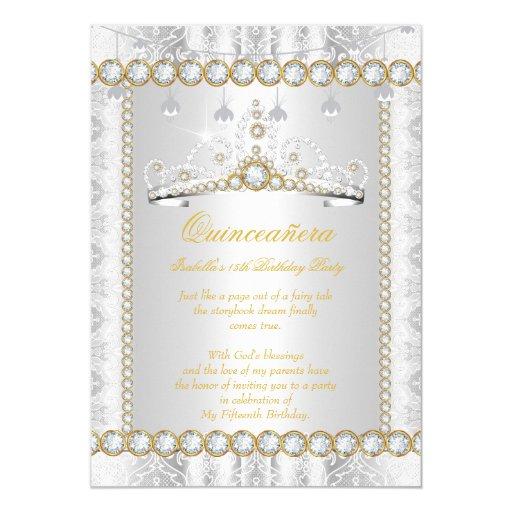 Princess Quinceanera Diamond Lace Gold Silver Card