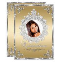 Princess Tiara Gold Silver Sparkle Quinceanera Card