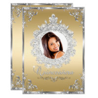 Princess Tiara Gold Silver Sparkle Quinceanera Card