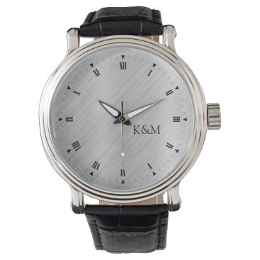 Printed Brushed Aluminum with Initials Wrist Watches