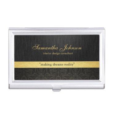 Professional Elegant Black Damask and Gold Business Card Case