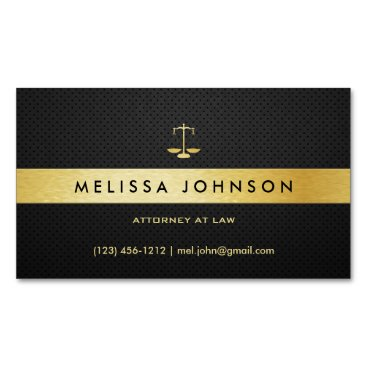 Professional Elegant Modern Black & Gold Attorney Magnetic Business Card