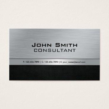 Professional Elegant Modern Black Silver Metal Business Card