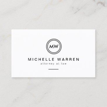 Professional Minimalist Modern Circle Monogram Business Card