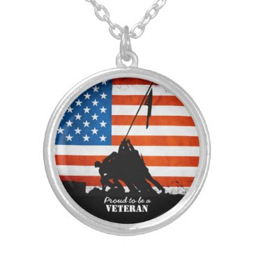 Proud to be a Veteran Silver Plated Necklace