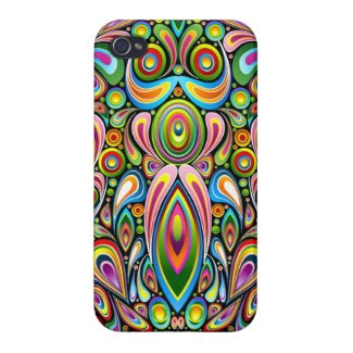 Psychedelic Colors Art Design iPhone 4 Glossy Case Cases For iPhone 4