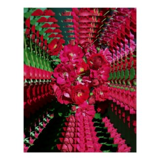 Psychedelic Red Rose Bush Poster print