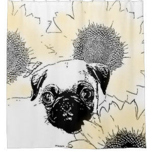 Pug in Sunflowers Shower Curtain