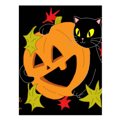Pumpkin and Cat 1 Postcard