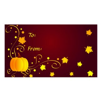 Pumpkin and leaves - Gifttag profilecard
