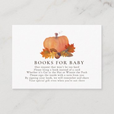 Pumpkin Autumn Leaves White Books for Baby Enclosure Card
