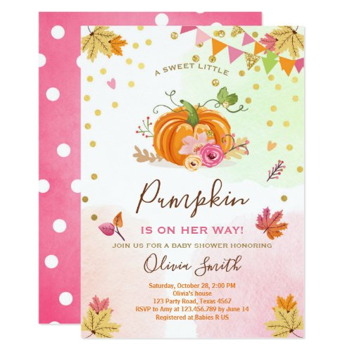 Pumpkin Baby shower invitation Autumn Fall Pink