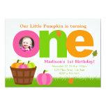 Pumpkin Birthday Invitation Pink Pumpkin Girl