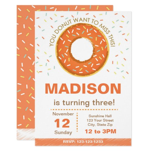 Pumpkin Donut Birthday Invitation