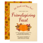 Pumpkin Fall Leaves Colorful Gold Friendsgiving Invitation