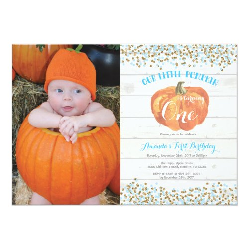Pumpkin First Birthday Invitation Blue and Gold