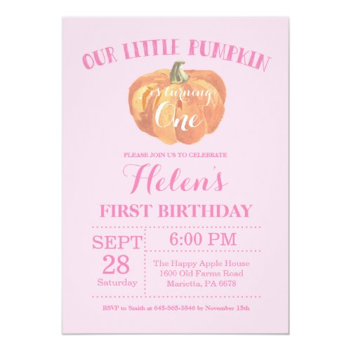 Pumpkin First Birthday Invitation Pink