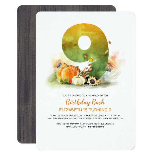 Pumpkin Patch Birthday Bash Fall Invitation
