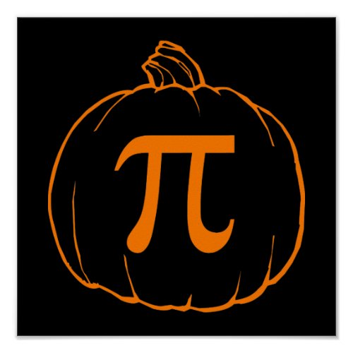 Pumpkin Pi (pie) Mathematics Humour Poster