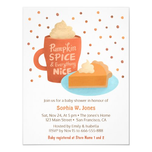 Pumpkin Spice Latte Pie Baby Shower Invitations