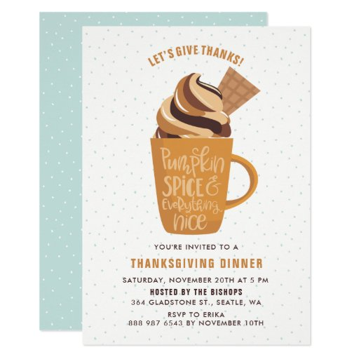 Pumpkin Spice Latte Thanksgiving Party Invitation