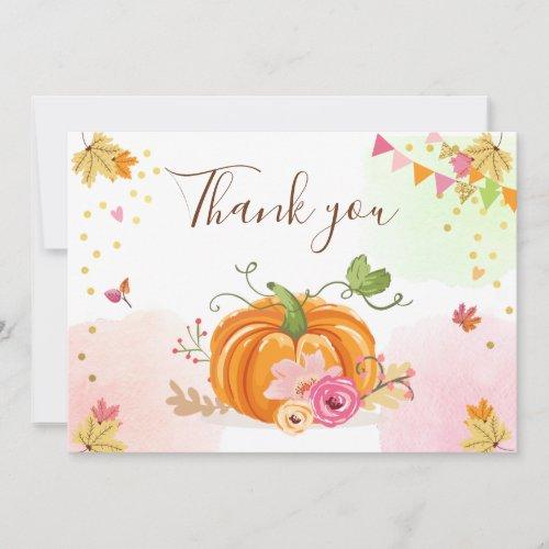 Pumpkin Thank you Card Girl Pink Floral Autumn