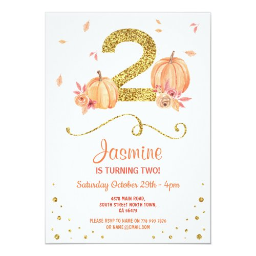 Pumpkin TWO Birthday 2nd Fall Party Gold Invite