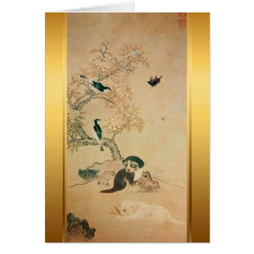 Puppy and Birds Korean painting for Dog Year 2018