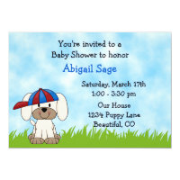 Puppy Baby Shower Invitation for Boys