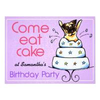 Puppy Birthday Party Pug Cake Girl Off-Leash Art™ Card