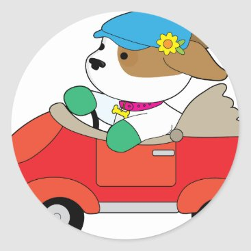 Puppy Car Classic Round Sticker