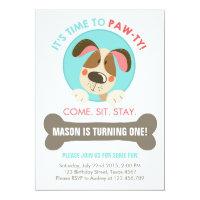 Puppy dog invitation blue red chevron