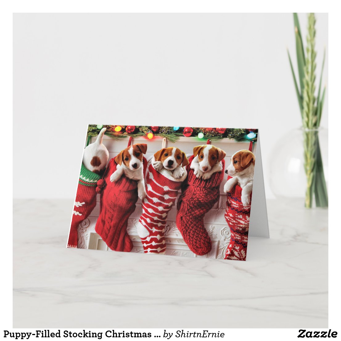 Puppy-Filled Stocking Christmas Card