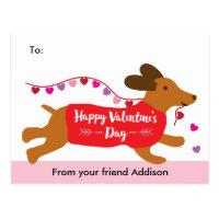 Puppy Love Dachshund Dog School Valentine Exchange Postcard