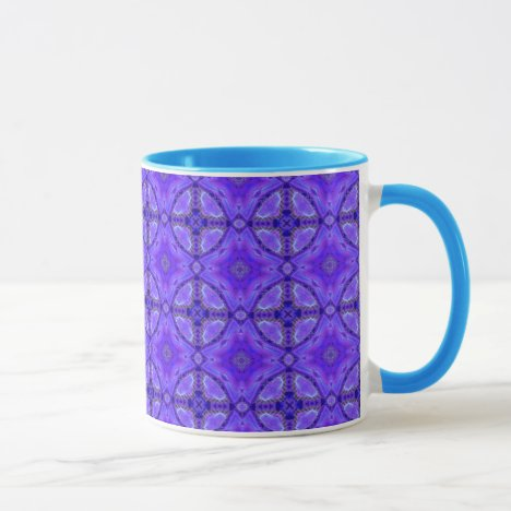 Purple Abstract Flowers, Lattice, Circle Quilt Mug