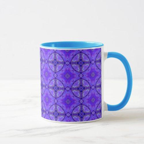 Purple Abstract Flowers, Lattice, Circle Quilt Mug
