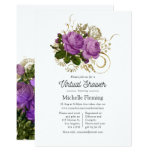 Purple and Gold Vintage Chic Floral Virtual Shower Invitation