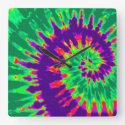 Purple and Green Tie Dye Clock