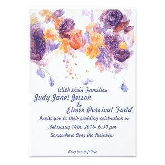 Purple and Orange Wedding Invite