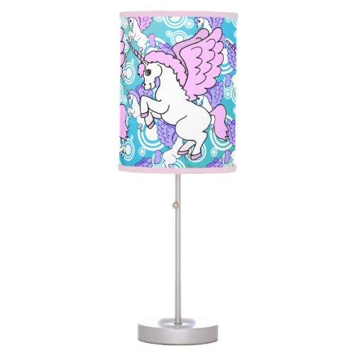 Purple and Pink Unicorn Pattern Table Lamp