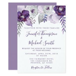 Purple And Silver Watercolor Fl Wedding Invitation