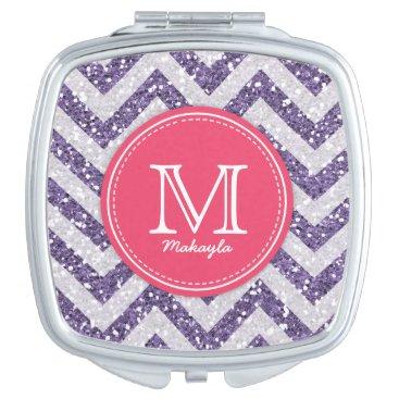 Purple and White Chevron Glitter with monogram Vanity Mirror