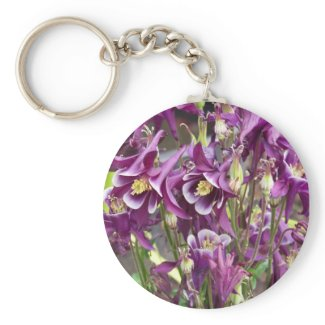 Purple and White Columbines Keychain keychain